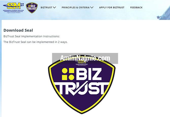 cara letak logo ssm biztrust